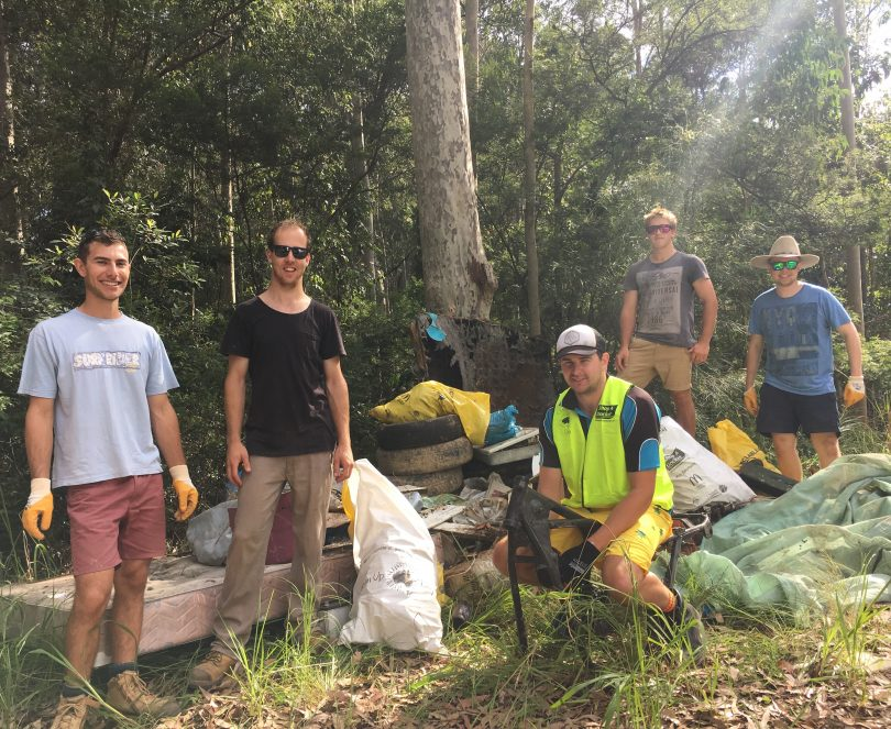 Mates lending a hand to keep the Eurobodalla unspoilt, James, Sam Billy, Lodovico and Ben. Photo: Eurobodalla Shire Council.