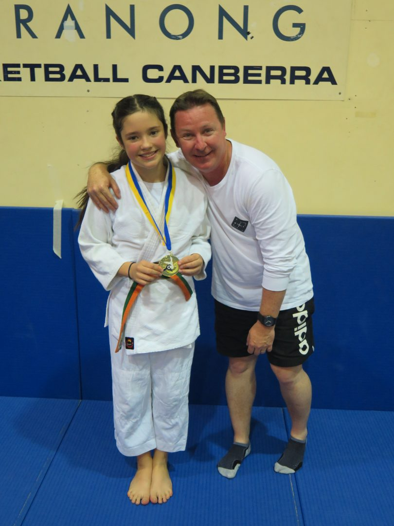 Gabi Cleary and her coach at Ni Bonchi Club, Andrew Fairhall. Photo: Supplied by Shane Cleary.