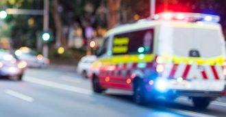 Two men taken to hospital after motorcyclist and pedestrian collide in Belconnen
