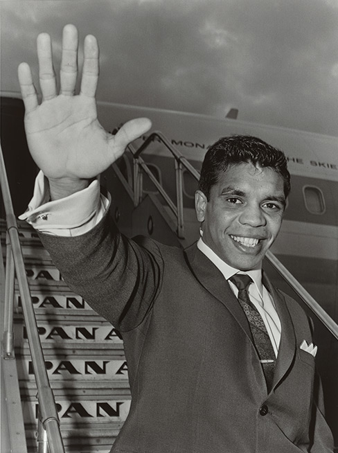 Mervyn Bishop (b.1945) Lionel Rose, World Champion Bantamweight Boxer before Departing to the United States to Defend His Title, Sydney Airport 1968 Pictures Collection nla.obj-153508974