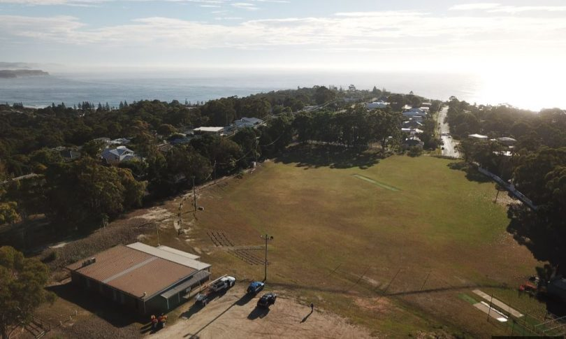Fundraising is underway to install solar panels on the Aussie Rules clubhouse at Lawrence Park Tathra. Photo: Matthew Nott.