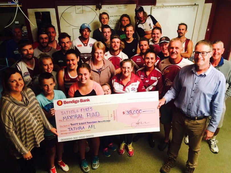 Tathra AFL Club raised $38,000. Photo: Mayor Kristy McBain Facebook.