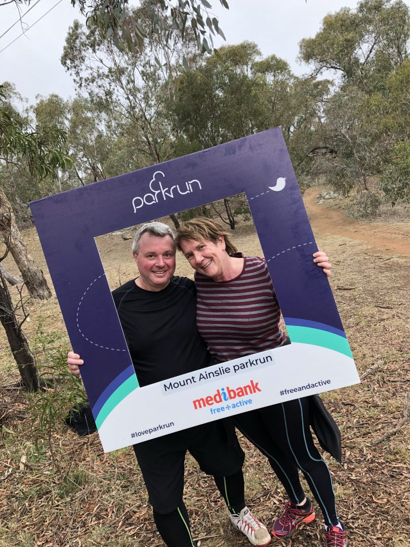 Tim Benson (RiotACT) and Liz Lang at the Mount Ainslie Parkrun.
