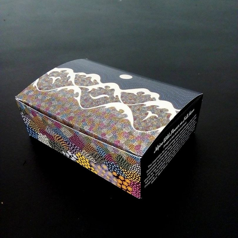 The cookie box designed by Pauline Coxon for Snowy Mountains Cookies. Photo: Pauline Coxon Art Gallery Facebook.