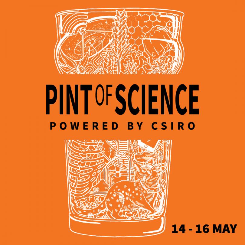 Pint of Science logo on orange background