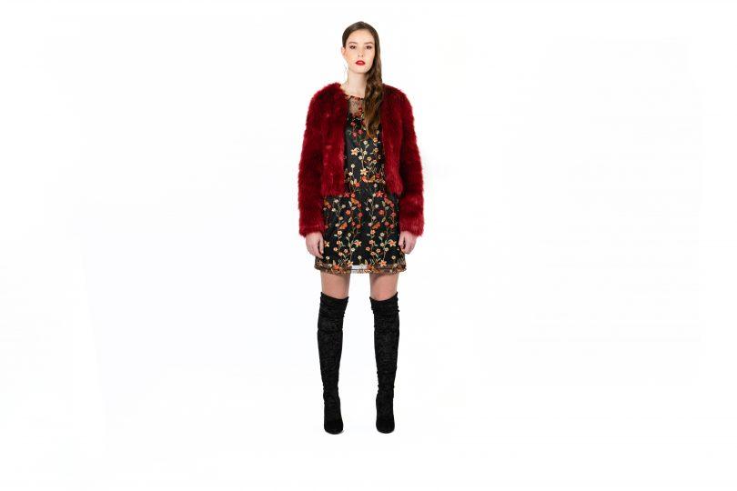 Model wearing faux fur coat