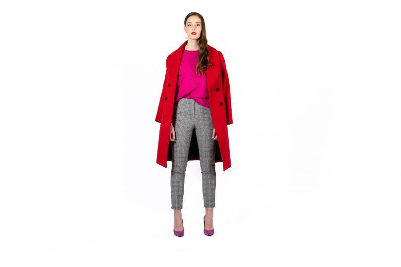 Model wearing red coat