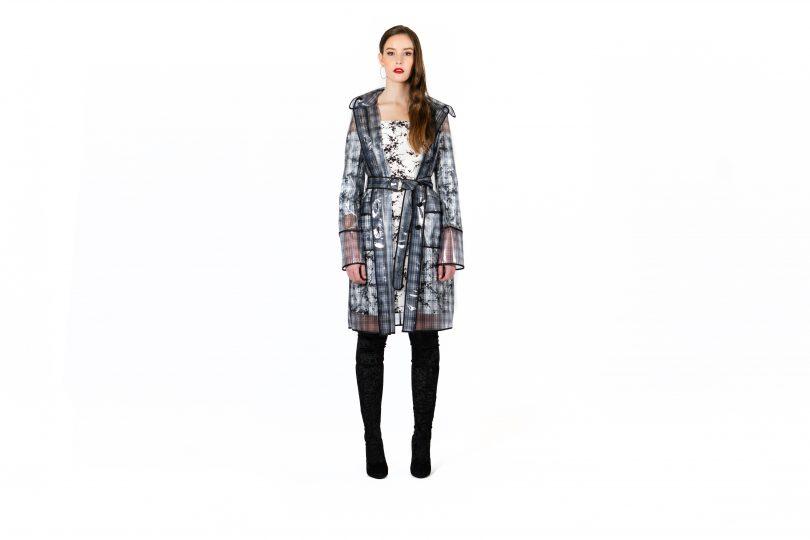 Model wearing raincoat
