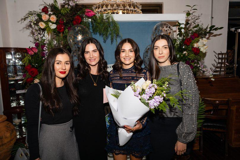Tanja Jankuloska, Sarah Kennewell, Taylor Pitsilos, Ivana Stojanoska posing for social media photographs