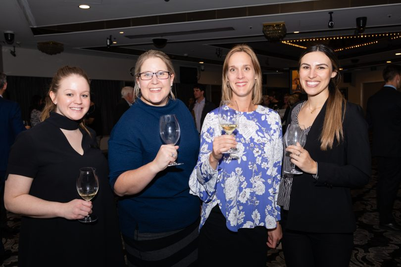Jess Dunn (hotel Kurrajong), Cathryn Evan (TFE Hotels), Helen Orde (Canberra Convention Bureau) and Adrianna Perabo (Canberra Convention Bureau)
