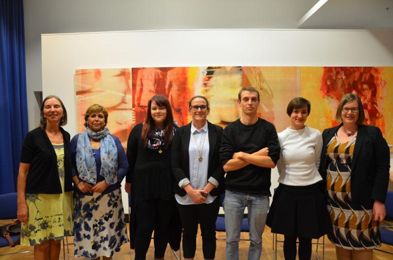 Making Space Socialise presenters. L-R: Lelde Vitols, Dr Sunita Dhindsa, Louise Billman, Susan Cadman, William Scott, Milicia Muminovic, Suzanne Orr MLA. Photo: Supplied