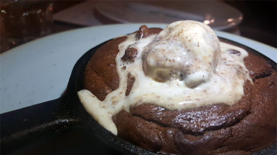Baked Chocolate Pudding with Rum and Raisin Ice Cream