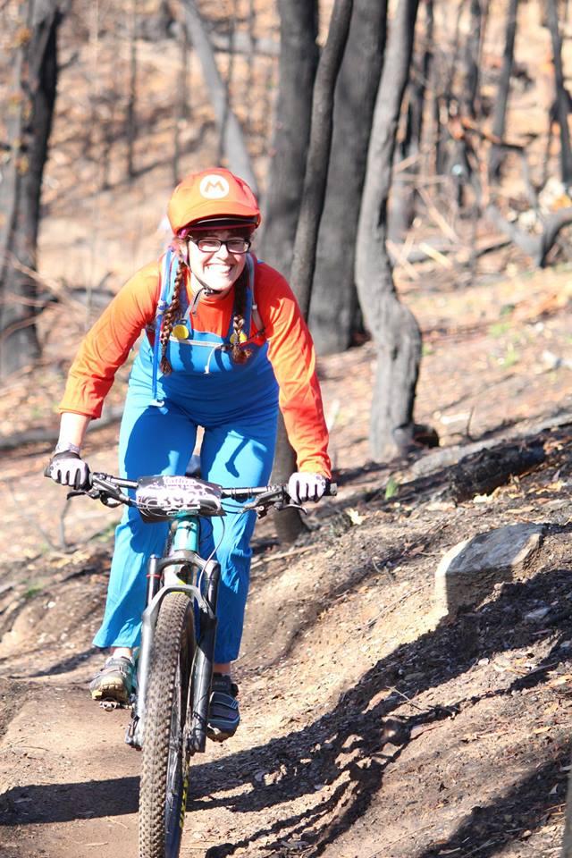 """Mario"" AKA Grace at the Tathra MTB Enduro. Photo: Far South Coast Mountain Bikers Facebook page."
