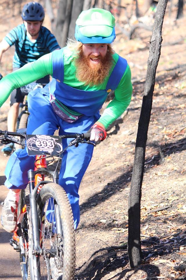 """Luigi"" AKA Ash at the Tathra MTB Enduro. Photo: Far South Coast Mountain Bikers Facebook."