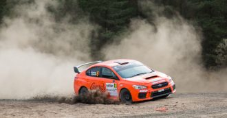 Dirt flies as Eli Evans wins the Netier  National Capital Rally