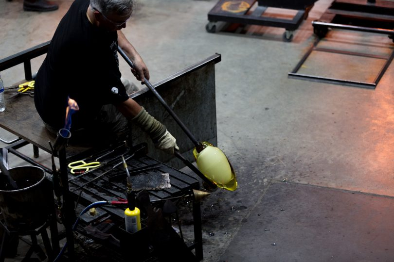 A glass artist in action at Saturday's Winter Glass event at the Canberra Glassworks in Kingston. Photos: Jack Mohr.