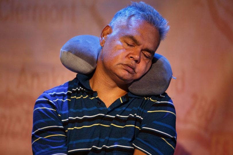 Kamahi Djordon King as Dad in a rehearsal of WHICH WAY HOME. Photo: Snehargho Ghosh