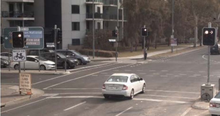 A sample online camera image of a red light camera infringement. Photo: Supplied by Access Canberra