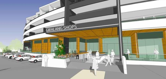 An artist's impression of the proposed Giralang shops development from the DA. Images: Supplied.