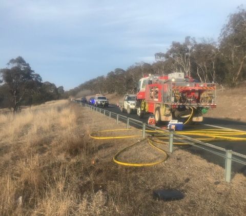 The Monaro Highway at Michelago was closed for around 10 hours after 3 people were killed in a head on collision last night. Photo: Monaro Police District.