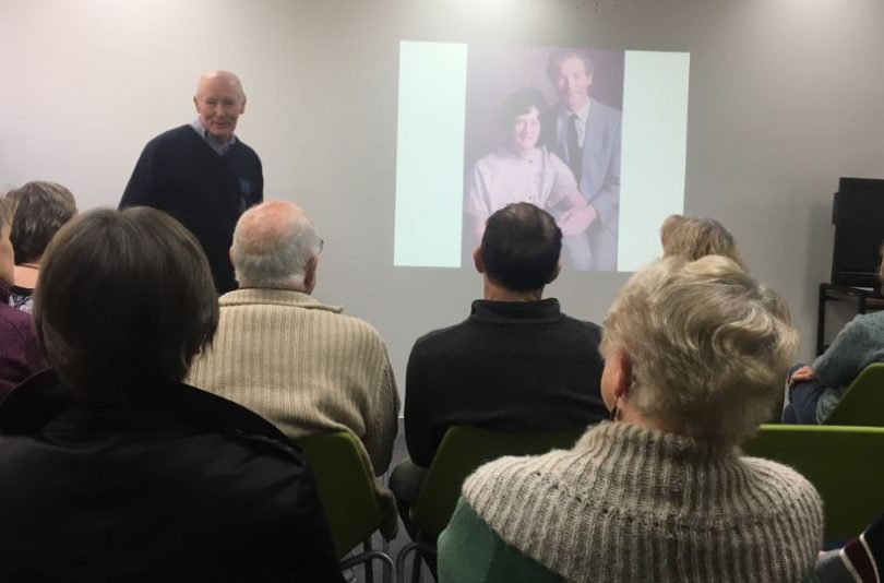 Noel Braun at Bega Library speaking about his wife of 42 years, Maris. Photo: Ian Campbell.