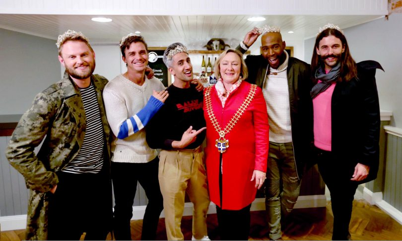 Mayor Rowena Abby (in her own bling) welcomes Queer Eye to Yass. Photo: Supplied.