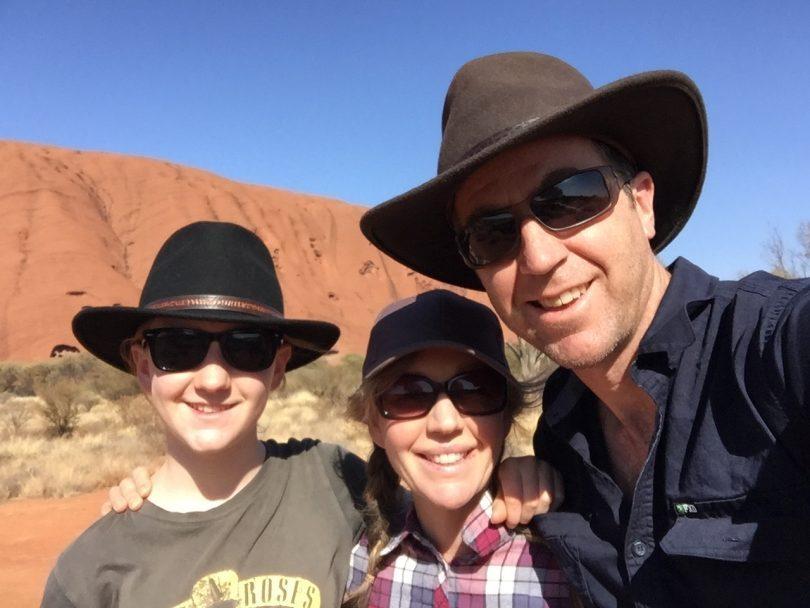 Lara, Janine, and Steve Scrivens at Uluru. Photo: Steve Scrivens