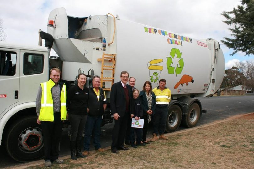 Mayor, John Rooney and school student Alex Reed (both centre) with members of Council's Resource and Waste Team. Photo: Supplied.