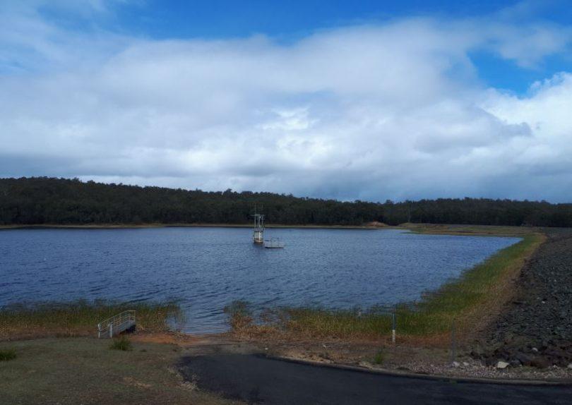 Deep Creek Dam, has now fallen to less than 80 per cent capacity. Photo: Eurobodalla Shire Council.