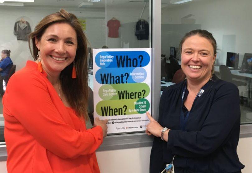 Mia Maze and Sam Avitara from the Bega Valley Innovation Hub. Photo: Ian Campbell.