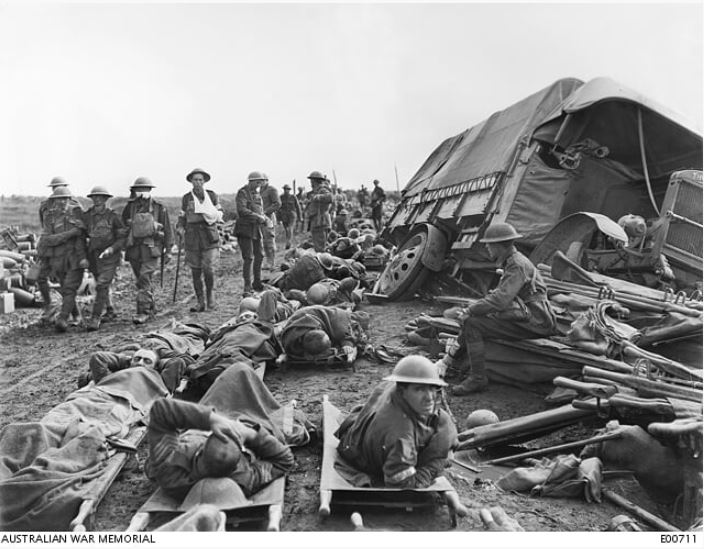 Caption: A scene on the Menin Road near Hooge, looking towards Birr Cross Roads, during the battle on 20 September 1917. Full description at www.awm.gov.au/collection/C43126.