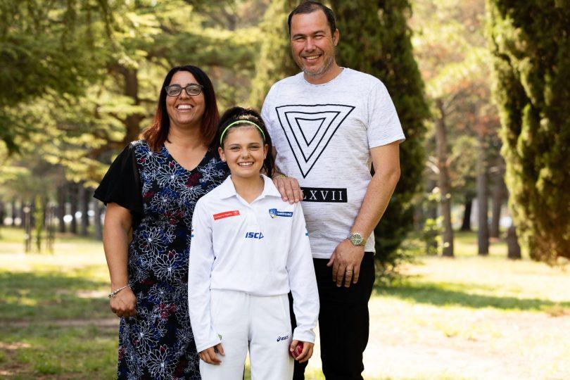 Nadia with mum and dad, Laura and Tony Carroll. Photo: Daniella Jukic.
