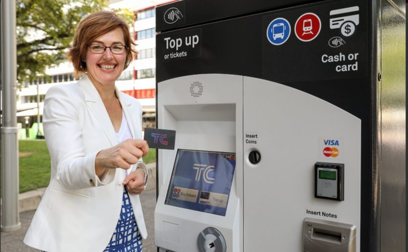 Meegan Fitzharris at the now-operational ticket vending machines. Photo: Transport Canberra.