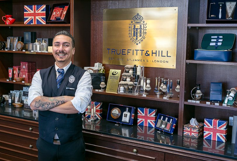 Aras, senior barber at Truefitt & Hill Canberra, one of Canberra's most recommended barber shops.