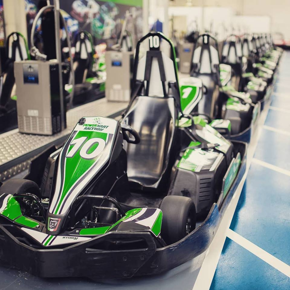 Power Karts lined up and ready to race. Photo: supplied.