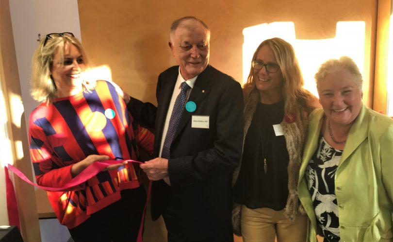 Indira Carmichael, Basil Sellers, Liz Innes and Ann Sudmalis as the opening ribbon was cut. Photo: Alex Rea.