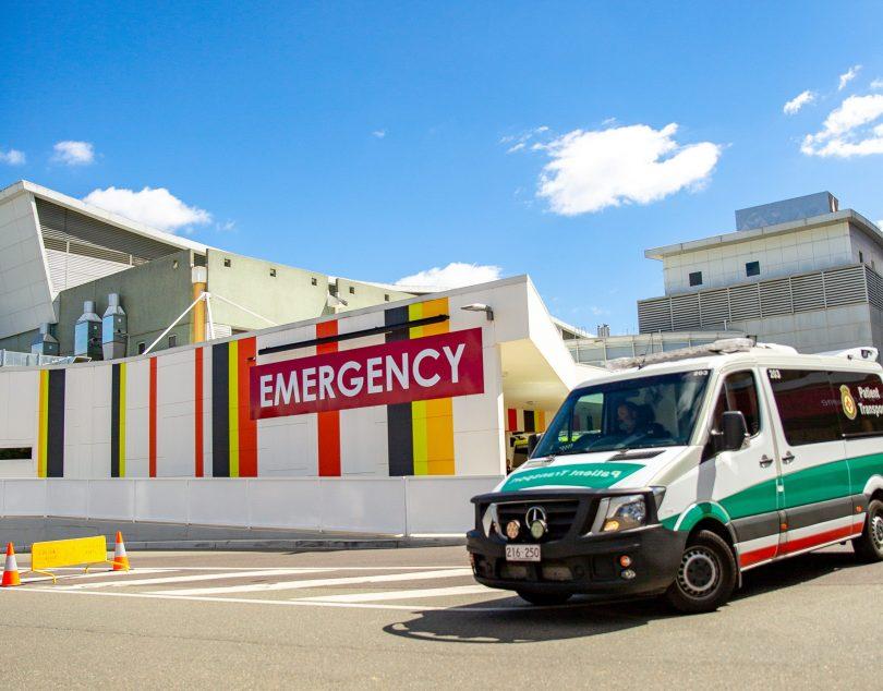 Ambulance exiting Canberra Hospital