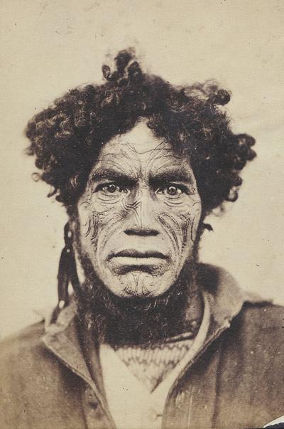 George Wesley Bishop M?ori rangatira (possible Te Iriaha) 1860s Carte de visite Michael Graham-Stewart collection, Auckland
