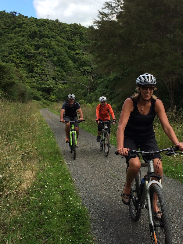 Cyclists Anne and Greg Watt of Auckland, and Pauline Mullen, enjoying a rail trail abroad.
