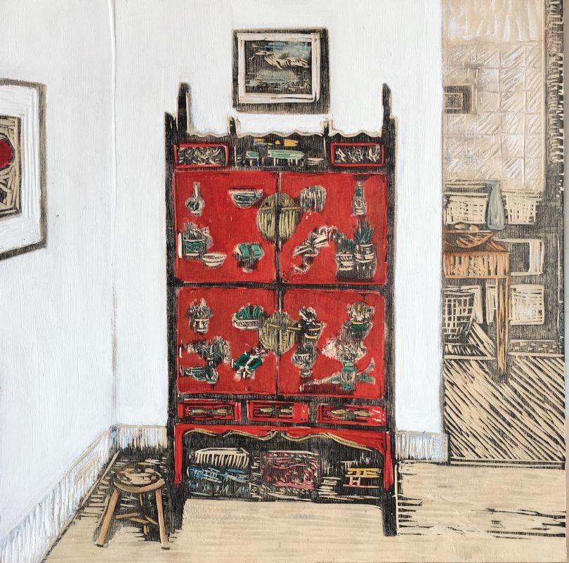 Julian Laffan 'Chinese scholar', woodcut on birch ply, gouache, oil, pencil, 34.5 x 34.5cm