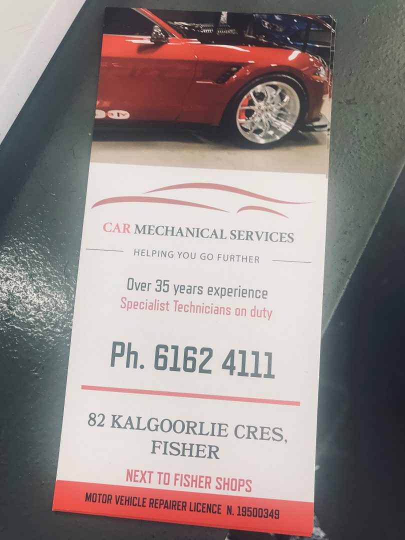 Flyer about Fisher Car Mechanical Services