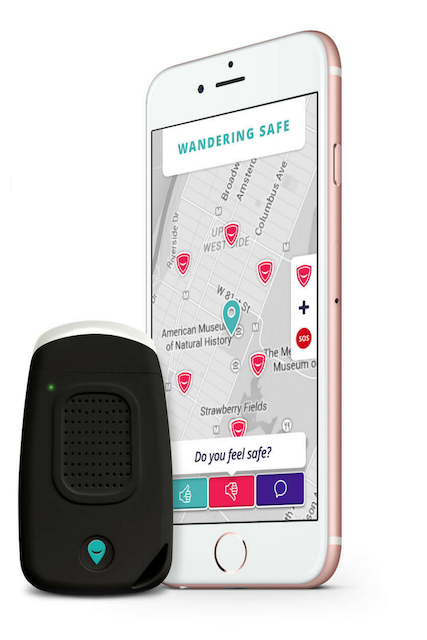 The WanderSafe, which can be paired to an app on your phone.
