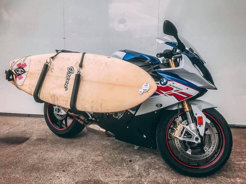 surf board and bike.