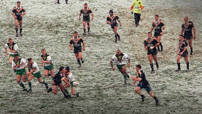 The Tigers took on the Raiders in snow