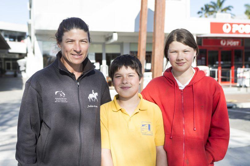Julie-anne Humphries with her children Oran and Joslyn.