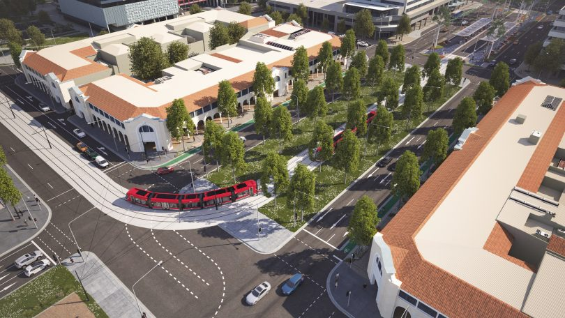 Artist's impression of light rail at intersection of Northbourne Avenue and London Circuit