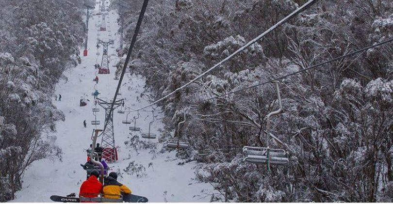Merritts chairlift in winter.