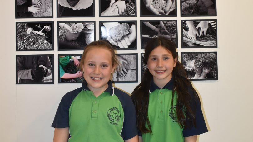 Bonython Primary School year 5 students Sophie Brennan and Hannah Bowman