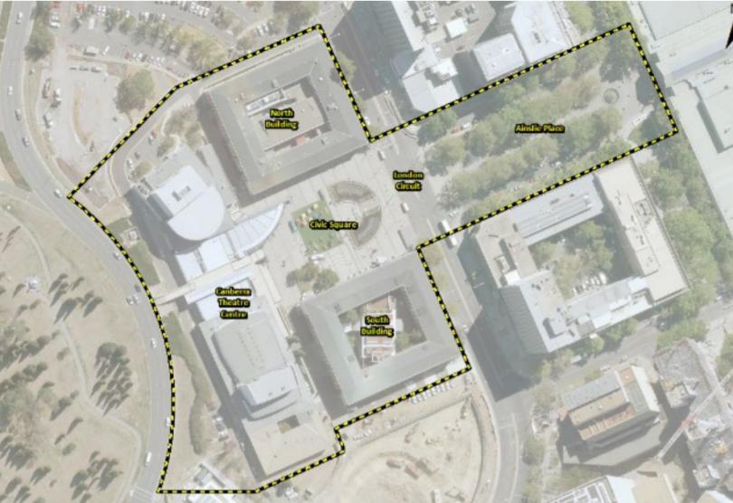 The Civic Square Precinct site boundary aerial shot.
