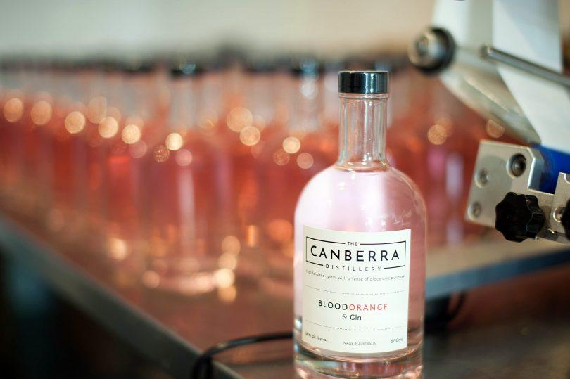 Bottled, labelled Blood-orange gin.